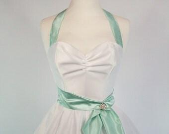 Made To Measure Mint Green And White Duchess Satin Full Circle Skirt Wedding Dress - Detachable Straps & Belt