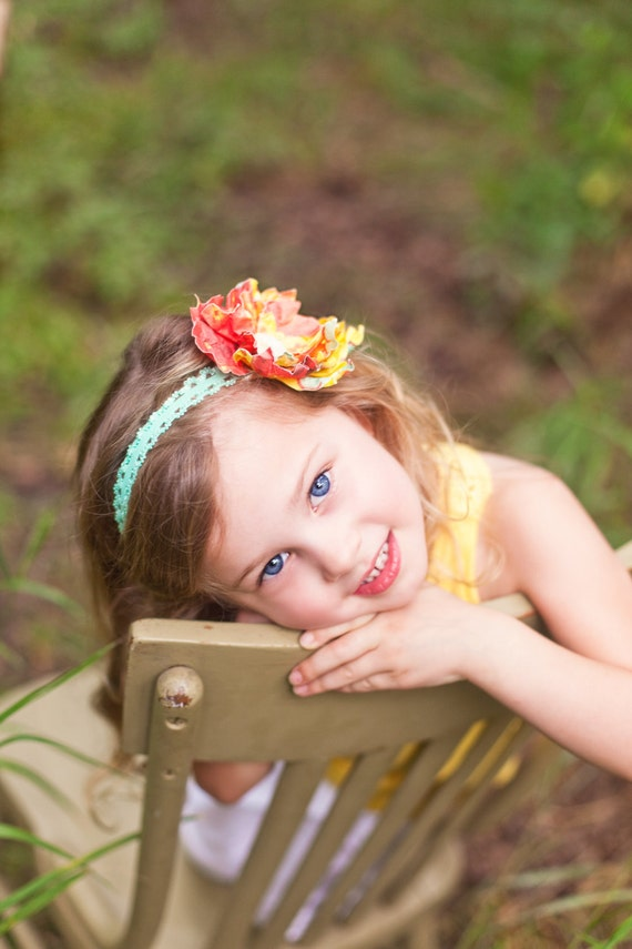 """The """"Victoria"""" - Beautiful of teal, yellow & orange paper flower on a lace headband"""
