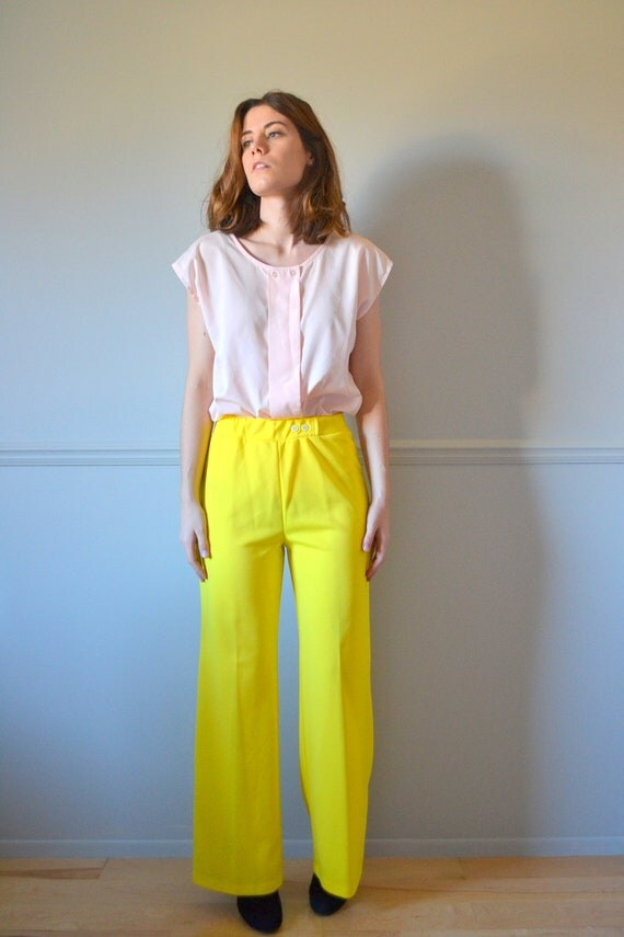 60s wide leg pants / 1960s yellow pants / vintage pants