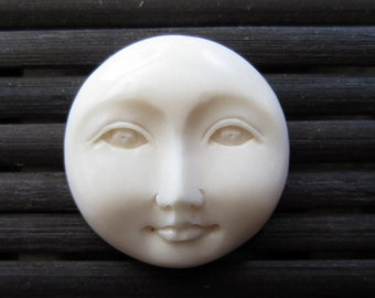 Handmade Stunning 20mm (0.79 inch) Moon Face open Eye bone cabochon, embellishment, Scrap booking,  B4893