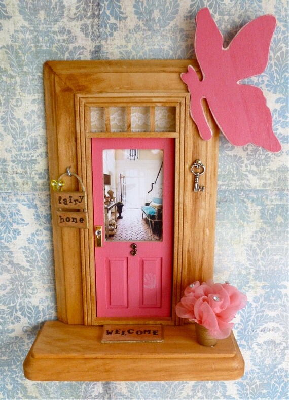 Fairy Door - Pink Door - Foyer w/Teal Velvet Sofa