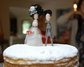 Cake Topper Couple-Custom Personalized-Pick your Pair-Hair color-dress-suit-bow tie and flowers