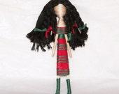 Lovely Lisa-Custom Cupie Folk Art Pin Brooch