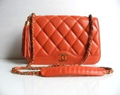SALE Vintage Chanel Quilted Orange Flap Bag