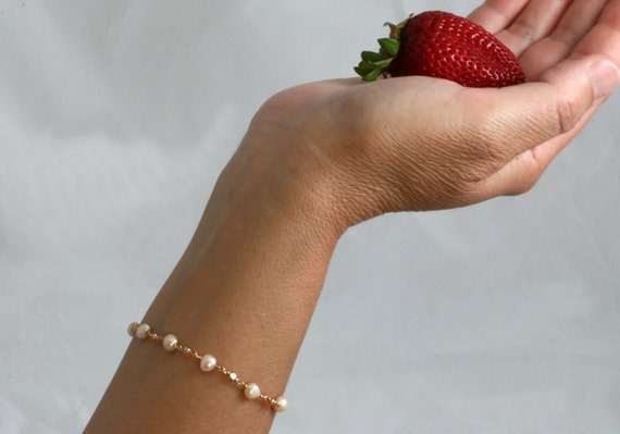 Freshwater Pearls Bracelet, 14kt. Gold Filled, Czech Cut Glass, For the Bride