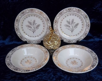 RARE Fancy Gold Wheat Bowls and Plates - Two Each - Vintage Home Breakfast - Kitchen - Dining - Fine China Decor