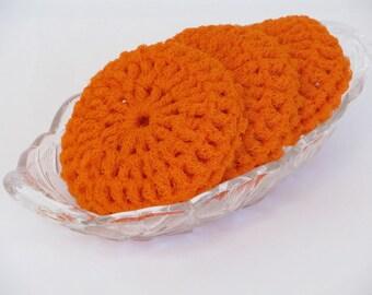 Dish Scrubbies Made Of Orange Nylon Netting