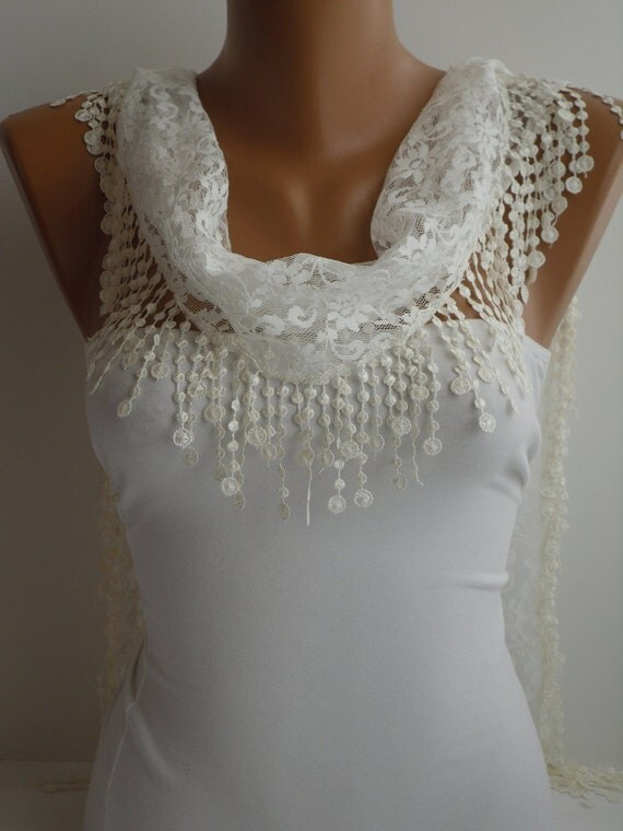 Ivory Lace Scarf- Shawl Headband  Cowl with Lace Edge