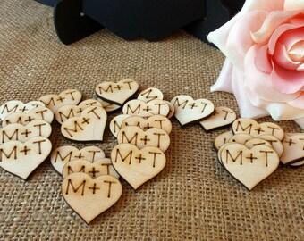 Wood Hearts Confetti Wedding Decoration - Set of 100 , Custom Initials , Wedding Centerpiece , Reception Table Decoration