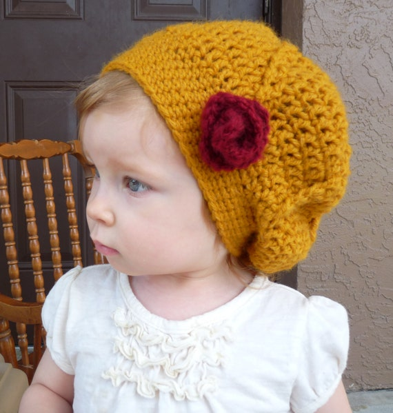 Baby Slouchy Beanie Crochet Pattern : Slouch Beanie Toddler Hat Baby Girl Hat by LittleMommaBoutique