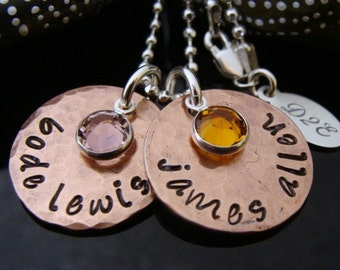 D2E Mothers day hand stamped recycled lucky penny and sterling silver birthstone necklace