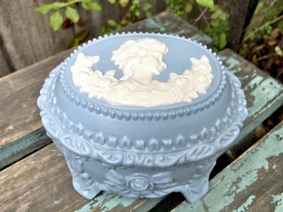Vintage Wedgwood Jasperware Style Trinket Box, Victorian Lady Dresser Box Epsteam