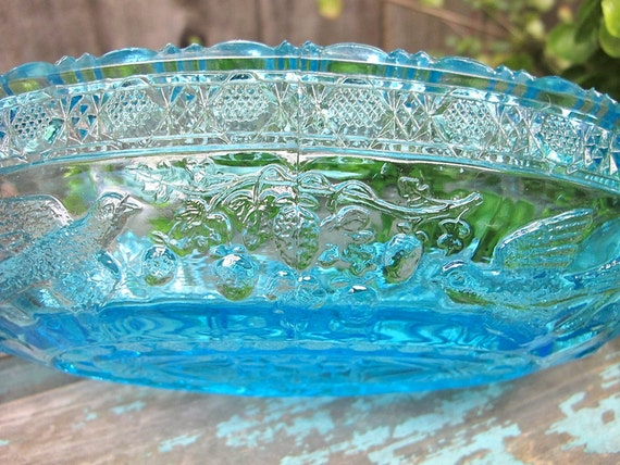 Vintage Blue Glass Dish Pressed Glass Depression Era Lovebirds Turquoise Glass Epsteam