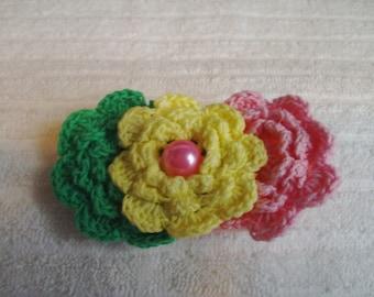 Crochet Flower Hair Clip -Pink Green and Yellow Hair Clip - Handmade Flowers - Boutique Hair Clip