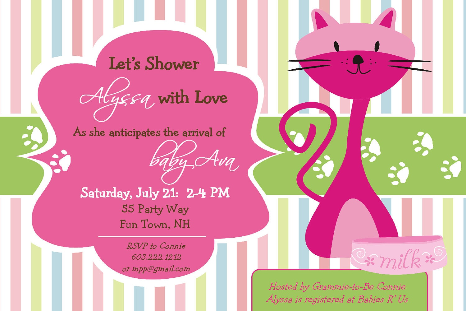 baby shower girl invitation kitty cat by asyouwishcreations4u
