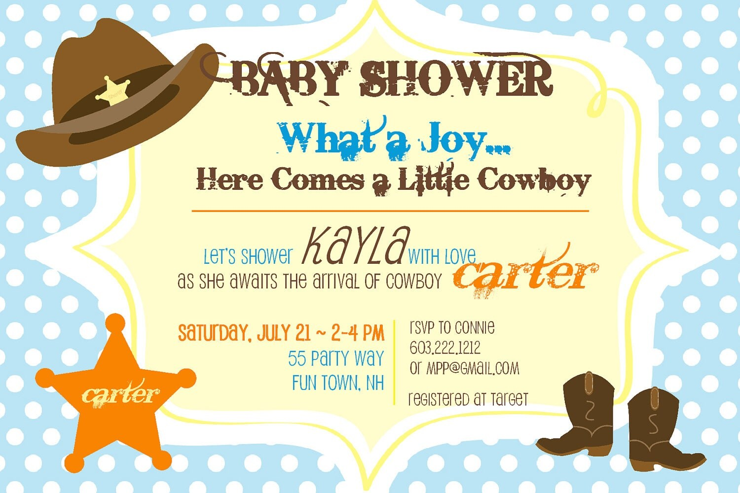 baby shower invitation cowboy hat sheriffs by asyouwishcreations4u