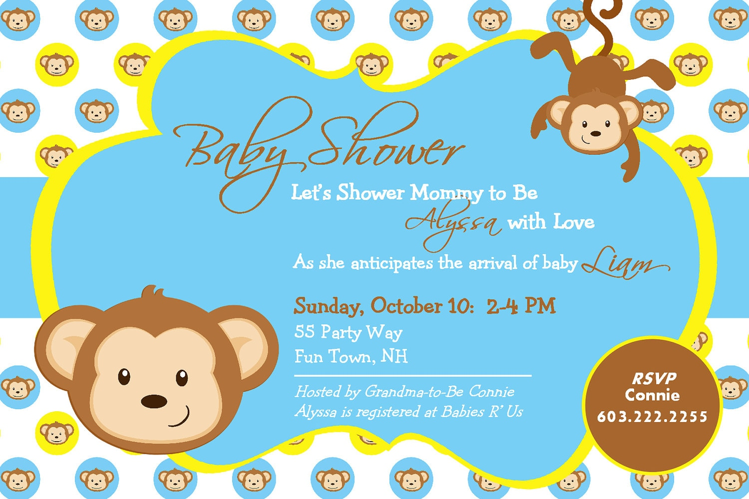 Monkey Themed Invitations with beautiful invitations example