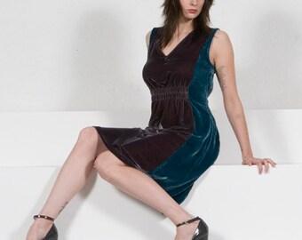 Velvet Dress, Midi Dress, V-Neck Dress, Sheath Dress, Boho Dress, ColorBlock Dress, Sleeveless Dress w/ Stretch Waist in Plumb & Teal