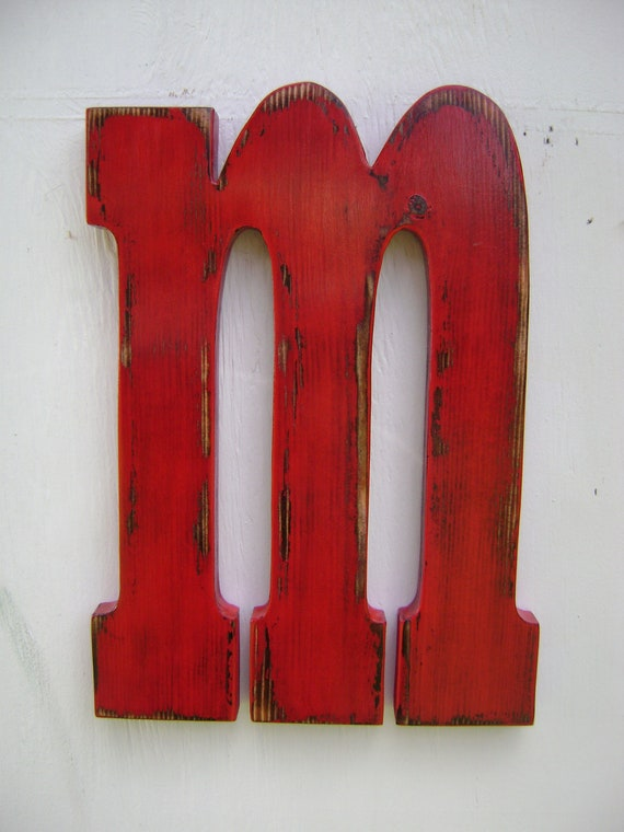lowercase m wood block letters shabby chic letter wedding sign -letter sign handmade and handpainted