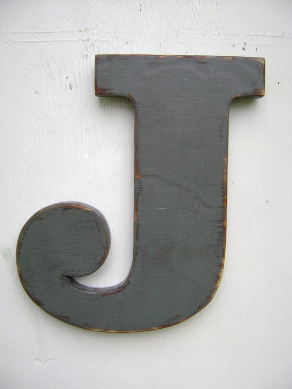 """Shabby chic big wooden letters  rustic decoration room decor letter J initals, nursery,cabin,cottage,decor 12"""" tall 3/4"""" thick"""