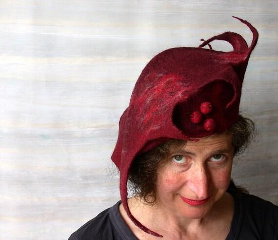 RESERVED for Zo - Garnet Red Felt Hat -  Felted Wool Beret - Wearable Art - Avant Garde