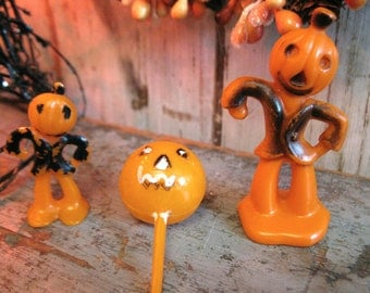 vintage halloween cupcake toppers cake decorations / jack o'lantern JOL / set of 3