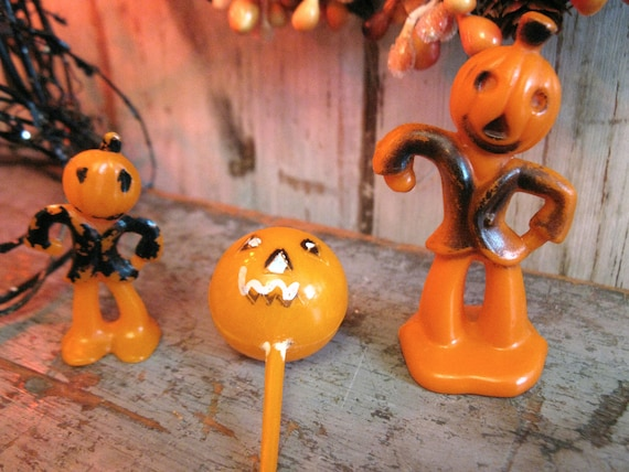 vintage halloween cupcake toppers cake decorations / jack o'lantern JOL / set of 3
