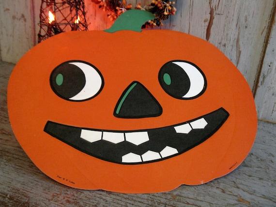 Vintage Luhrs Halloween JOL / Pumpkin Die Cut Decoration