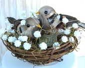 Baby's Breath Cake Topper , Bird , Rustic Wedding , Woodland