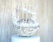 Bird Nest Cake Topper , Winter Wedding , White Wedding , Rustic Custom , Personalized