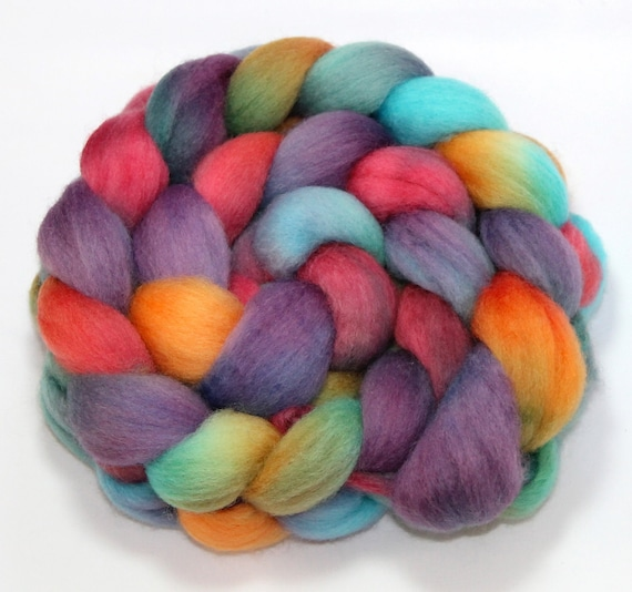 Hand Painted Roving - Lavender in Santa Fe - Falkland wool, 4 Ounces
