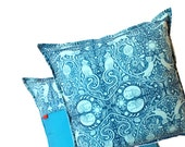 Cyan Blue Pillow, cushion cover 16x16 - Aqua Pillow - Cat Print - Zipper closure