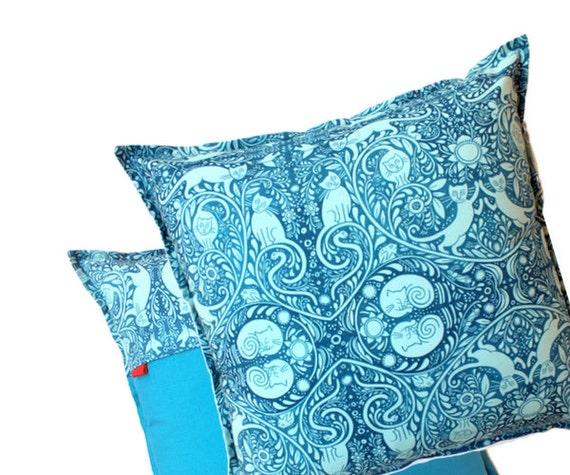 Cyan Blue Pillow, cushion cover 16x16 - Aqua Pillow - Cat Print - Zipper closure