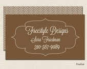 Premade Boutique Shop Business Card Design Creme and Brown  No.81 Double SIded