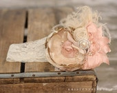 Vintage Lux Ivory Pink and Tan  Handmade Flower Headband, Feathers, Handrolled silk rosettes, pearls, Crystals BOW