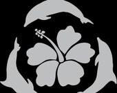 Dolphin & hibiscus vinyl decal sticker