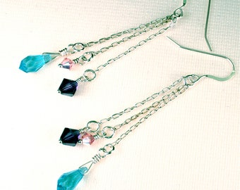 Sale -  Elegant sterling silver chains with amethyst, turquoise and pink crystals creating a beautiful and classy one of a kind earring..
