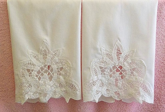 Vintage Set Battenburg Lace Tea Towel Set By