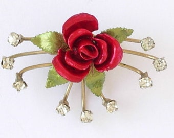 """Dainty Small Vintage Brooch Pin Red Roses Green Leaves Enamel Gold Tone Metal Spray of Sparkling Clear Rhinestones Petite 1 5/8"""" x 1 1/8"""""""