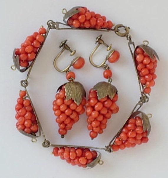 RESERVED for ColorOfTheWind 1930s Italian Vintage Coral Dangling Grape Cluster Vermeil 835 Sterling Screw Back Earrings & Bracelet