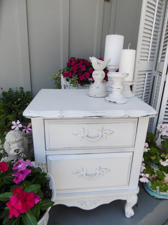 Shabby Chic Vintage Night Stand End Table Hand Distressed