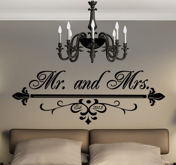 Wall Art With Wedding Date : Items similar to mr and mrs wall art vinyl black decal