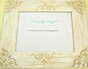 8X10 Distressed White Picture Frame, Cottage Chic White