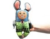 bunny rabbit painted folk art doll