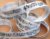 Musical Notes Ribbon, Double Satin 15mm (5/8) width, White Ribbon