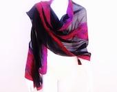 Black Silk Chiffon Nuno Felt Wrap Fuchsia Rust Silk Embellished Shawl