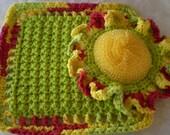 SUNFLOWER Scrubbie Washcloth Set --- Hot Green - Peace Colors - Mesh Net Scrubbie 100% Cotton Yarn Non Abrasive --- Kitchen/Bath - Gift Set