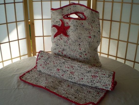 SALE ~ Beach Tote/Mat - Hand Crocheted Plarn Tote Bag-Beach/Shower Mat / SALE ~ Inventory Reduction was 35.00 now 20.00 Made in USA
