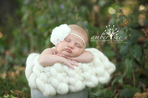 Ready To Ship Knit Chunky Wool Mini Photo Prop Blanket Cream/Off White
