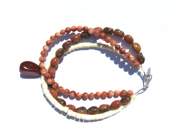 925 Sterling Silver Three Strand Beige Shell, Light and Russet Brown Round and Oval Decorated Glass Beads, Red Agate Charm Beach Bracelet
